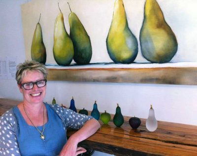 Sara Paxton Artworks-Sara With Pears Oil Painting