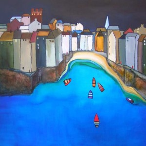 Sara Paxton Artwoks-Harbour with Boats-120x90cm