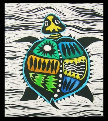 Sara Paxton Artworks-Green Turtle 20x30cm