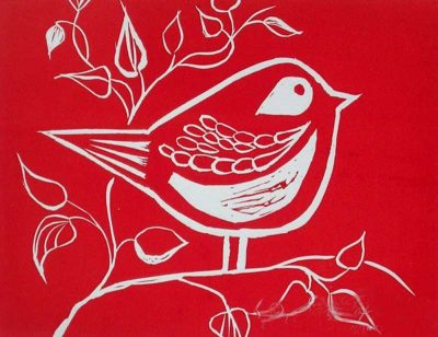 Sara Paxton Artworks-Red Song Bird-20x15cm