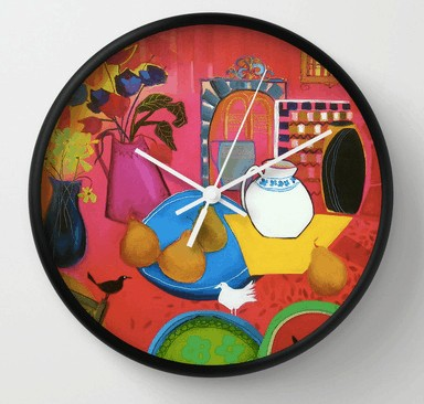 Blue Plate Clock-Sara Paxton Artworks-Society6 Prints