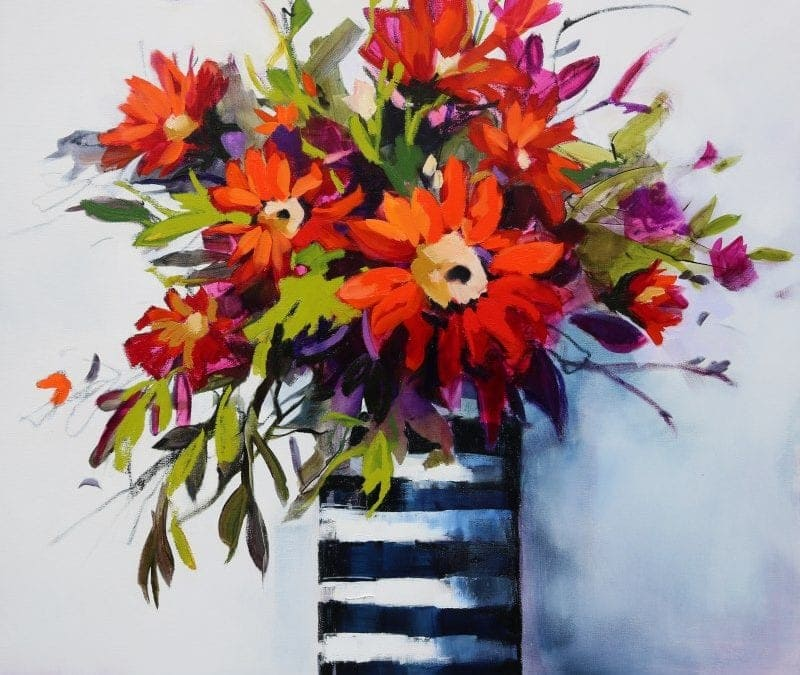 Sunflowers In Stripped Vase 106x106cm