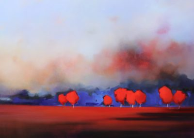 Red Trees in Landscape 152x76cm
